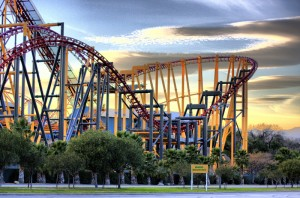 Valencia Magic Mountain single roller coaster