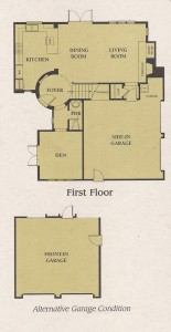 Valencia Woodlands Carmelita Tract home Plan 3 first floor floor plan