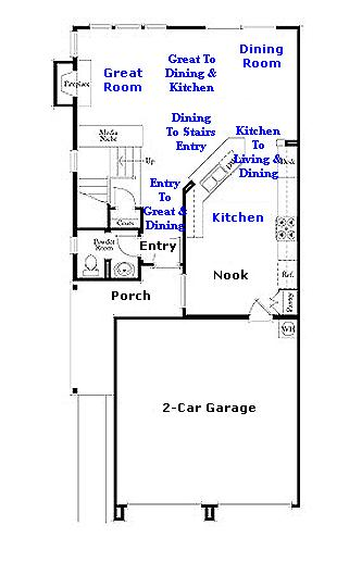 Valencia Westridge Bella Ventana Tract Residence 2 Floor Plan first floor