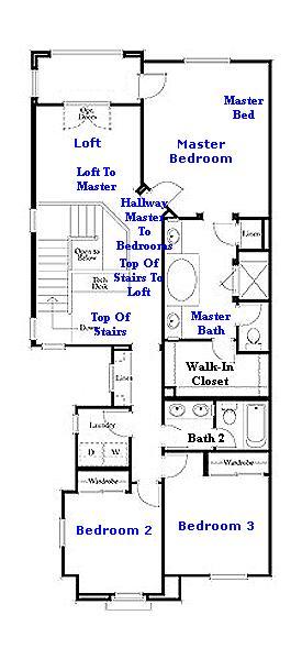 Valencia Westridge Bella Ventana Tract Residence 2 Floor Plan second floor