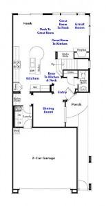 Valencia Westridge Bella Ventana Tract Residence 3 Floor Plan first floor
