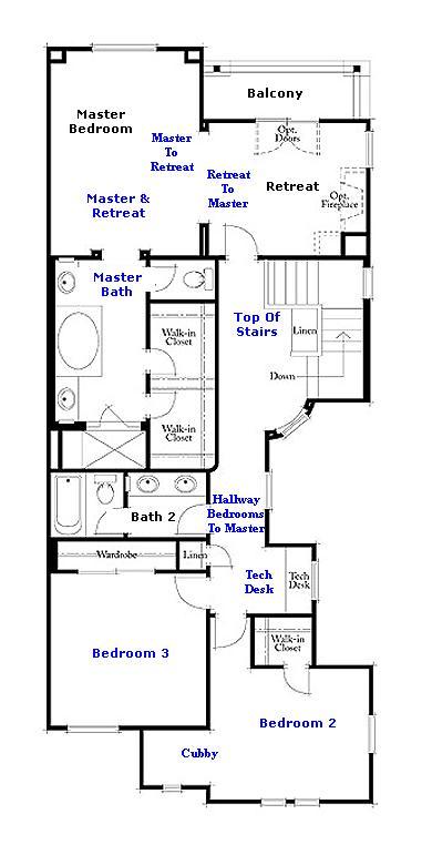 Valencia Westridge Bella Ventana Tract Residence 3 Floor Plan second floor