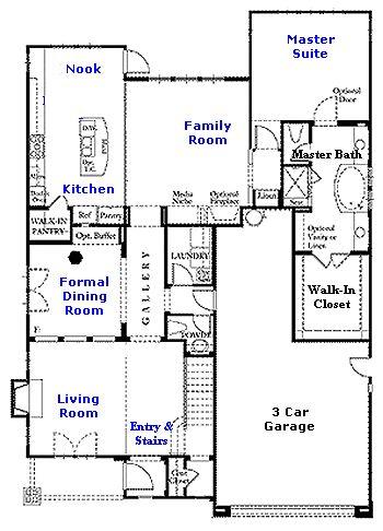 Valencia Westridge Bent Canyon Tract Residence 1 Floor Plan first floor