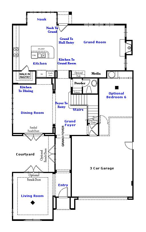 Valencia Westridge Montanya Tract Residence 2 Floor Plan first floor