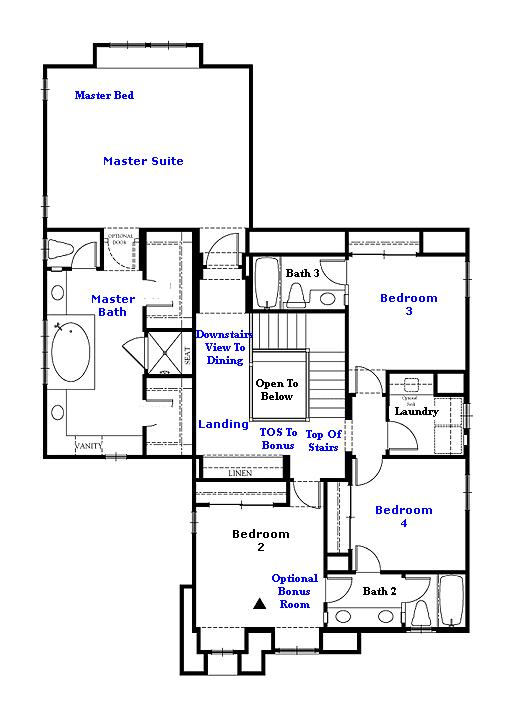 Valencia Westridge Montanya Tract Residence 3 Floor Plan second floor