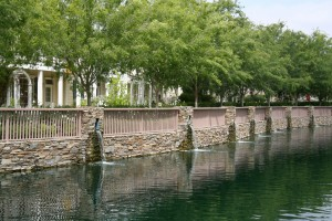 Valencia Bridgeport multiple waterfalls along paseo