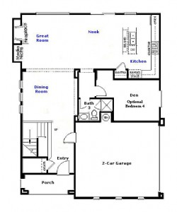 Valencia Westridge San Abella Tract Residence 2 Floor Plan first floor