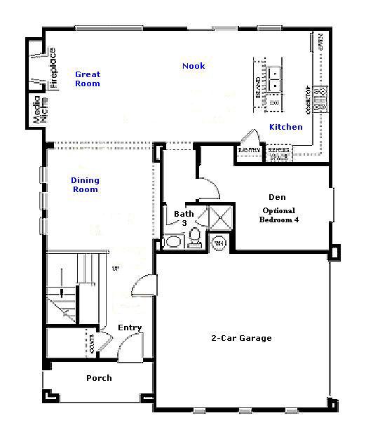 Valencia Westridge San Abella Tract Residence 2 Floor Plan first floor