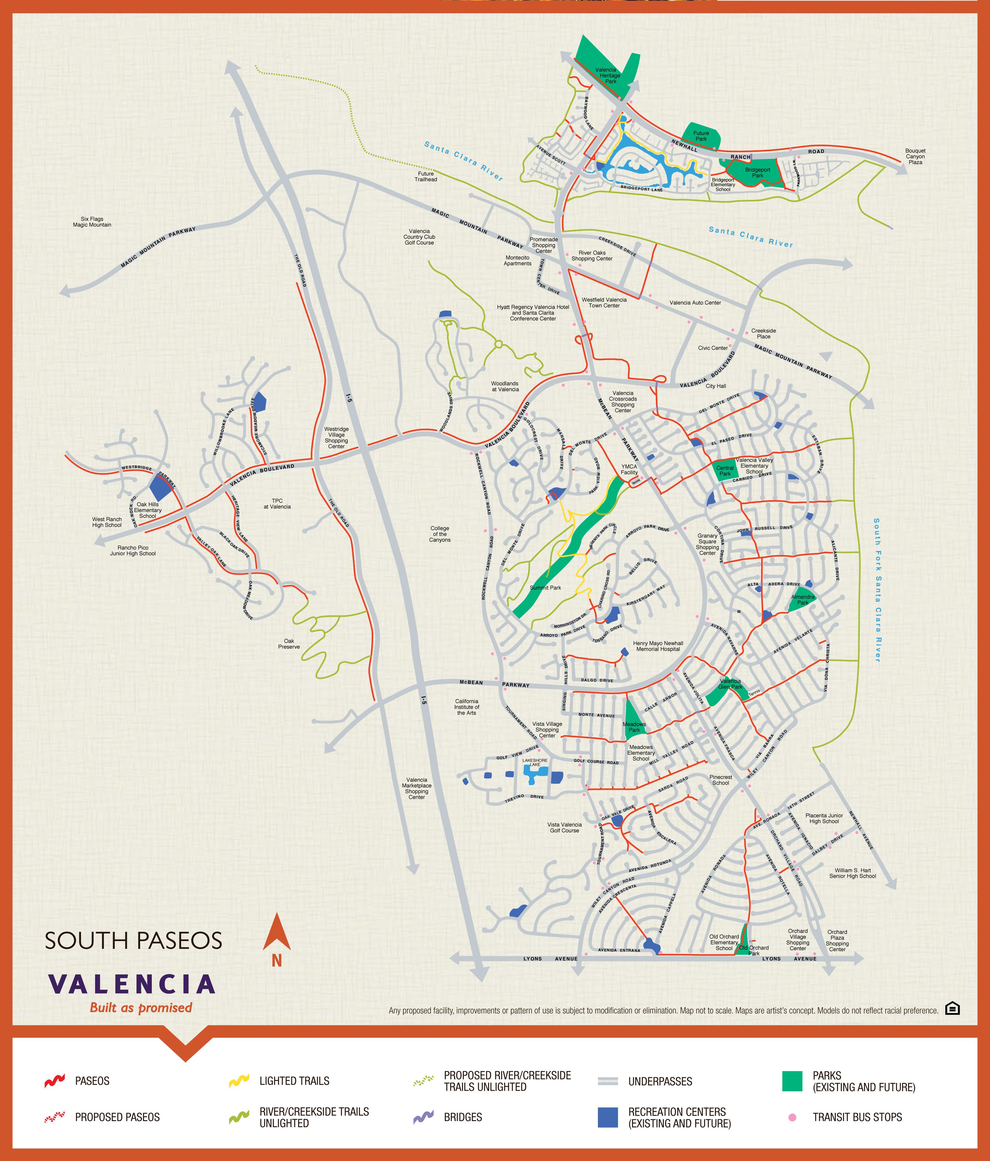 Valencia Paseo System and Map - Valencia Santa Clarita Ca